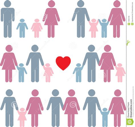 family set in color family icon set in color royalty free stock image