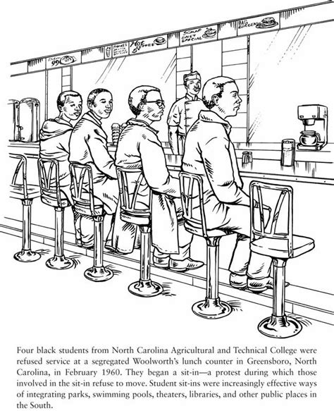 Civil Rights Coloring Pages greensboro sit in civil rights martin luther king jr