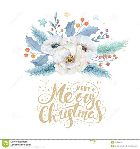 merry christmas watercolor cards with floral elements