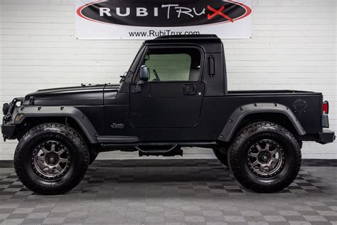 jeep black matte pre owned 2004 jeep wrangler rubitrux conversion flat black
