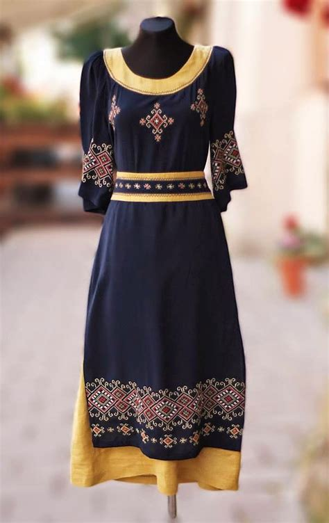 ethno style ethno style black and yellow dress from ukraine https