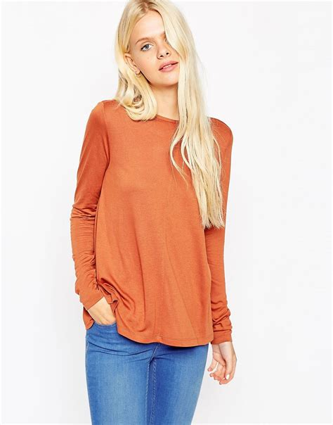 long sleeve swing top shoptagr asos long sleeve swing top by asos collection