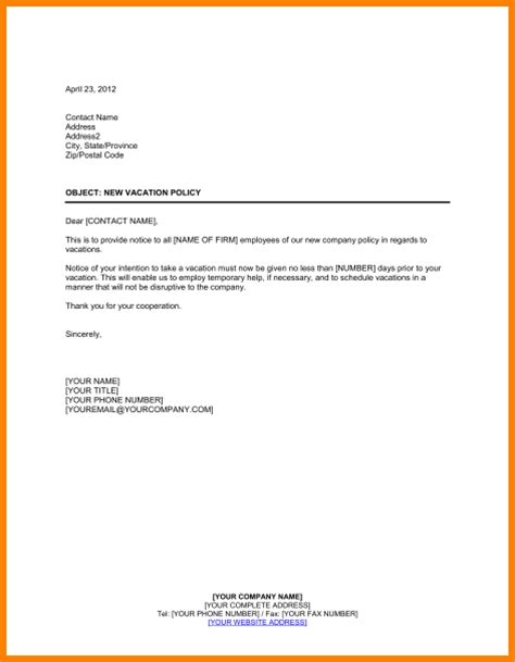 Offer Letter Vacation Time 6 Vacation Notice Letter Employee Timesheet