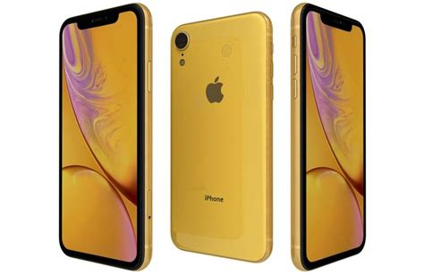 apple iphone xr yellow  model cgtrader