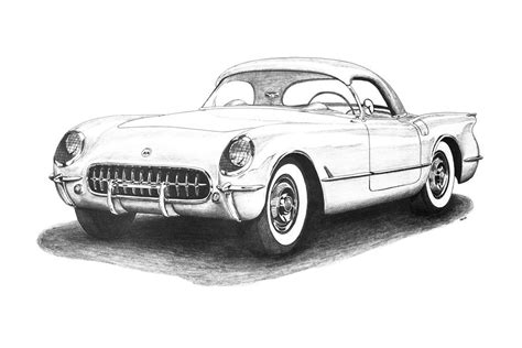 vintage corvette drawing 1953 chevrolet corvette drawing by nick toth