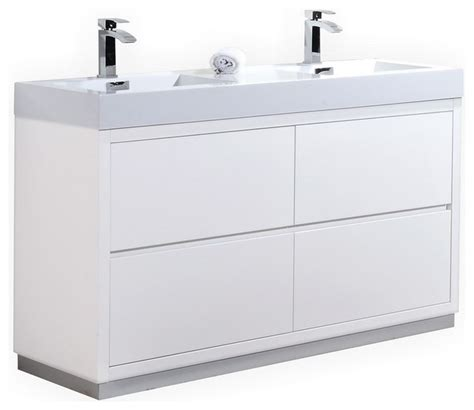 modern contemporary white freestanding free standing bliss double sink freestanding modern bathroom vanity