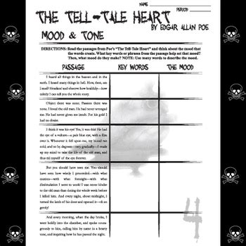 Tell Tale Worksheet by Tell Tale Mood And Tone Edgar Allan Poe By Created For Learning