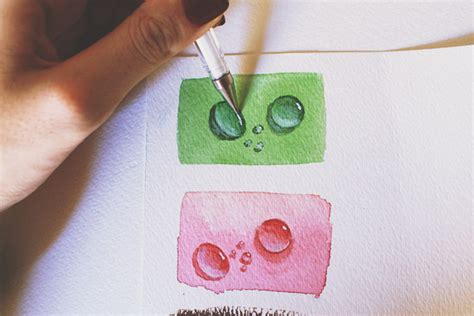 acrylic paint mix with water painting realistic water drops