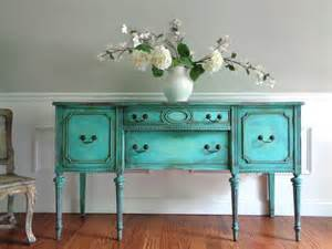 Turquoise Buffet Table Vintage Hepplewhite Painted Country Weathered
