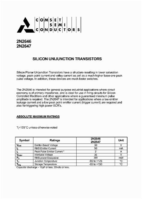 transistor ujt pdf 2n2646 5039838 pdf datasheet ic on line