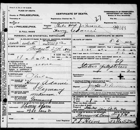 Philadelphia Birth Certificate Records Family Of Heinrich Charles Adami Sr Adami