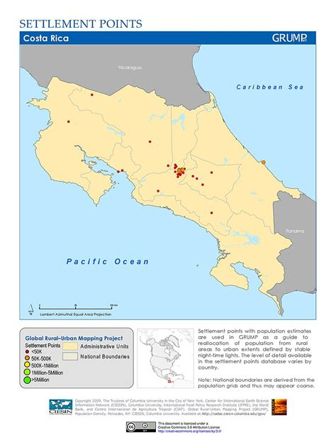 costa rica population density map maps 187 global rural mapping project grump v1 sedac