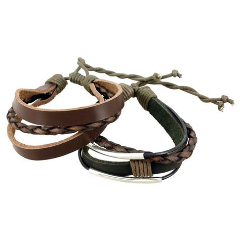 Handmade Mens Leather Bracelets - leather bracelet mens jewelry leather wristband handmade