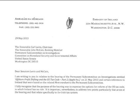 Official Letter Between Companies Government S Foolish Tax Letter To Us Senators