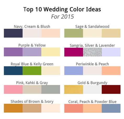 best colors top wedding color combinations for 2015 georgetown event