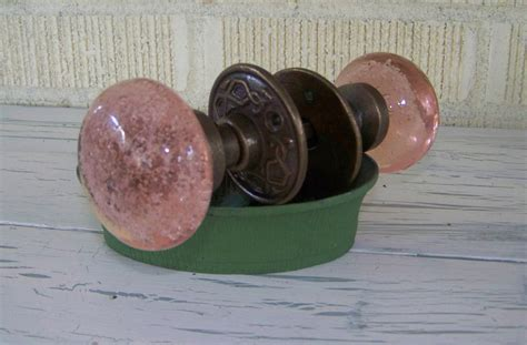 Pink Glass Door Knobs Pink Glass Door Knob Bubbled Glass Vintage Inspired Shabby