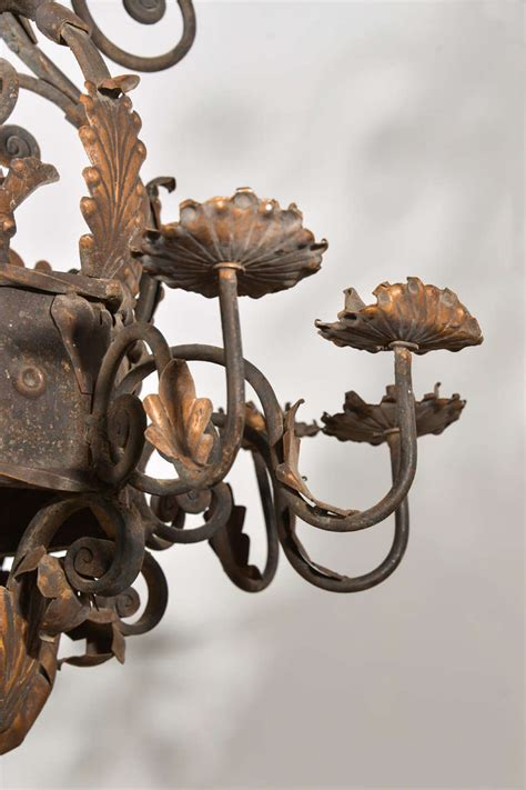 A Large Acanthus Leaf Iron Chandelier From France At 1stdibs Acanthus Leaf Chandelier