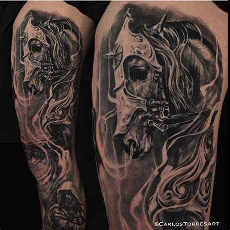 dark horse tattoo black and grey sleeve ma