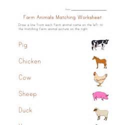 farm animals matching worksheet all kids network