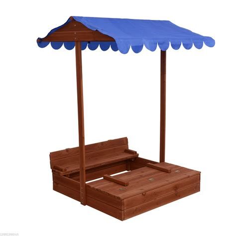 wooden sandbox with bench qaba wooden covered convertible sandbox w canopy and bench seats outdoor toys