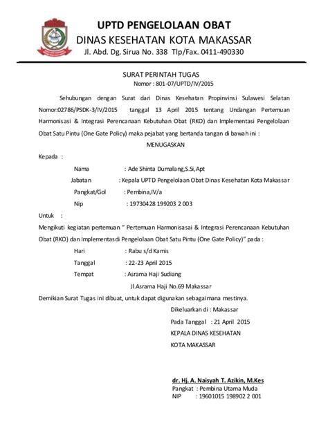 Contoh Surat Perintah Tugas by Surat Tugas Pelatihan