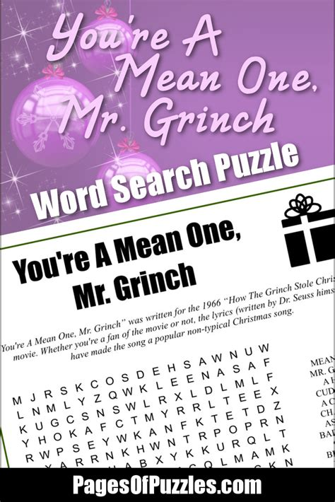 printable lyrics database you re a mean one mr grinch word search pages of puzzles