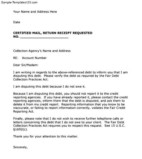 Fair Credit Collection Act Letter Sle Collection Letter Template Sle Templates