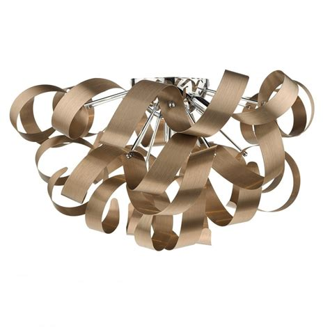 Contemporary Flush Fitting Ceiling Light With Twirling Light Fittings For Low Ceilings