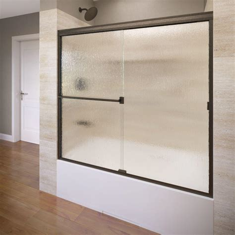 bathtub glass door basco deluxe 59 in x 58 1 2 in obscure framed sliding
