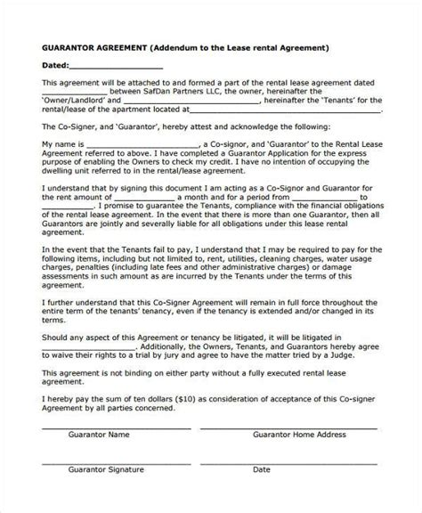 guaranty agreement template guarantor agreement template sle guarantor agreement