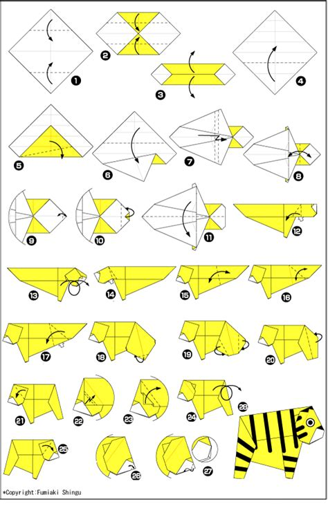 Origami Tiger Diagram - origami paper tiger scheme and origami