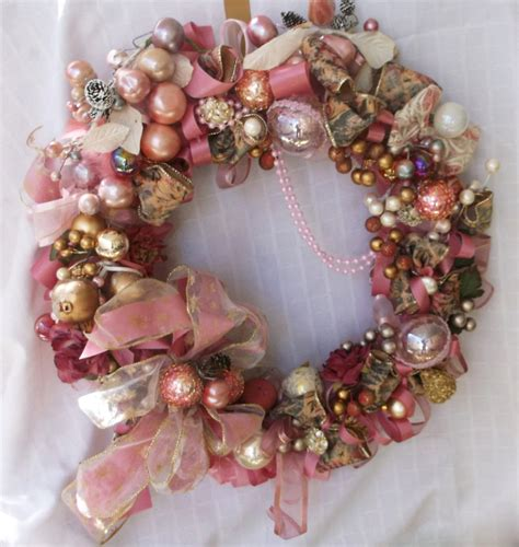 Handmade Antique Jewelry - vintage jewelry pink wreath handmade ornament by