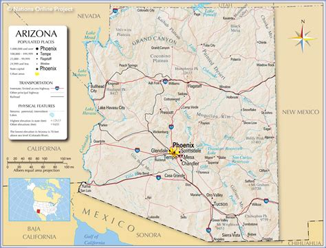 arizona state in usa map reference maps of arizona usa nations project