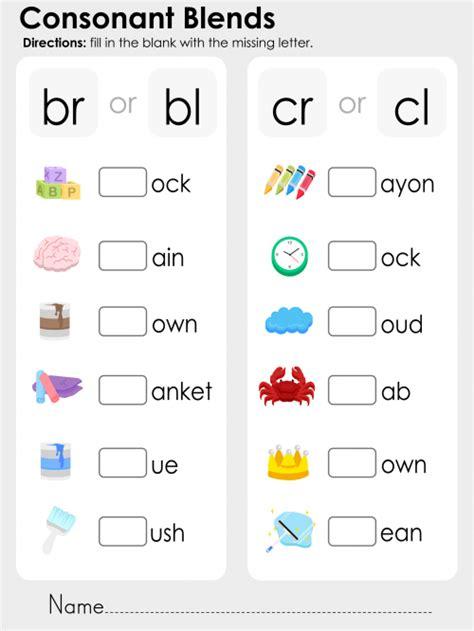 Consonant Blends Worksheets by Consonant Blends Br Bl Cr Cl Kidspressmagazine