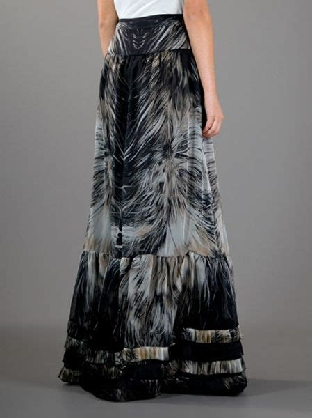 roberto cavalli feather print maxi skirt in black lyst