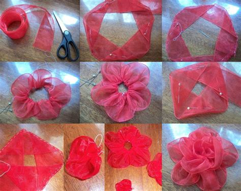 tutorial making organza flowers diy organza ribbon flower flowers ribbons and bows