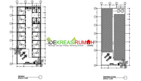 denah rumah kos sederhana dengan 20 kamar referensi rumah desain gambar kerja kos kosan satu lantai ekonomis ide