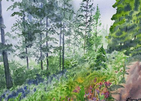 Jungle Duvet Original Watercolor Summer Pine Forest Painting By