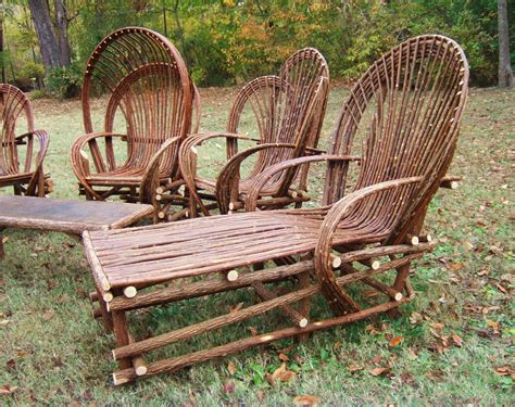 chairs and chaise loungers made with willow trees diy