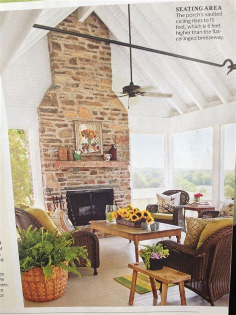 screened porch with fireplace put between screened porch