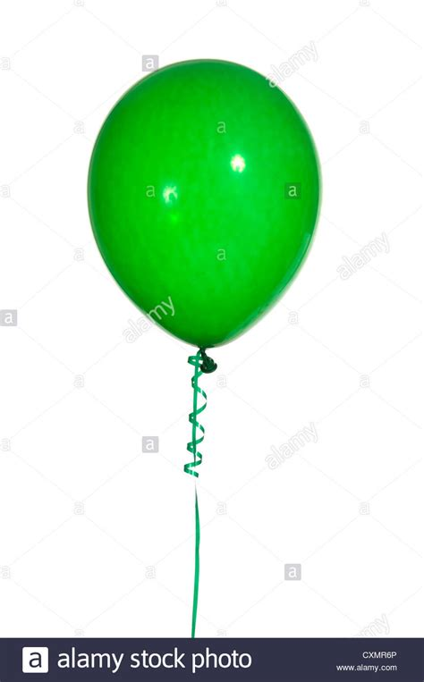 String Balloons - green balloon on string with a white background