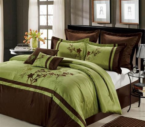Green King Size Comforter Sets by Presence Green And Brown Bedding Sets Atzine