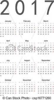 Kalendár Na Rok 2018 Kliparty Wektorowe Prosty Kalendarz 2017 Prosty