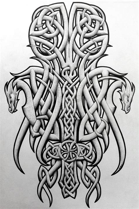 celtic dragon tattoo design celtic dragons and cross by design on deviantart