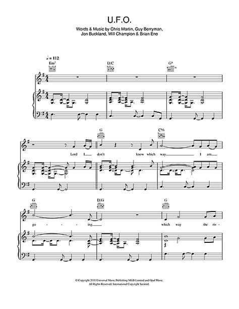 coldplay ufo lyrics coldplay u f o sheet music