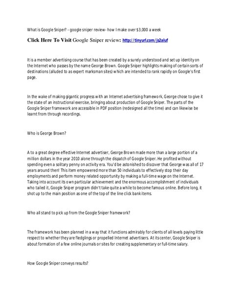 Working Online From Home For Google - google sniper 3 review google sniper reviews google sniper 3 0 scam