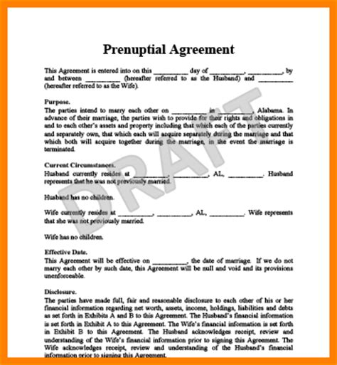 10 Free Printable Prenuptial Agreement Form Ledger Paper Prenup Template Free