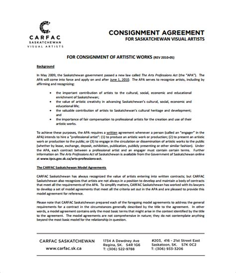 consignment shop contract template consignment agreement 10 documents in pdf word