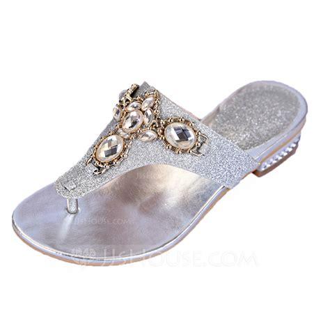Pantofel Golden Gliter funkelnde glitzer niederiger absatz sandalen flache schuhe
