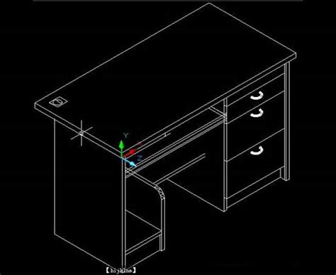 Drawing 3d In Autocad by Computer Desk Cad 3d Drawings Free Autocad Drawing Cad Blocks